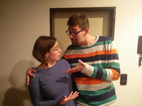 """Erstes Probenfoto mit """"Francine"""" und """"Thomas"""""""